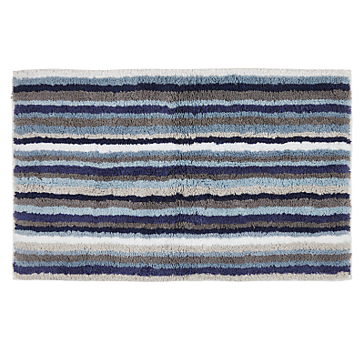 John Lewis Reversible Stripe Shower Mat Aqua