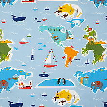 Buy little home at John Lewis Globe Trotter PVC Tablecloth Fabric, Multi Online at johnlewis.com