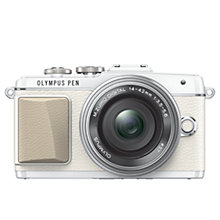 "Buy Olympus PEN E-PL7 Compact System Camera with 14-42mm Lens, HD 1080p, 16.1MP, 3"" LCD Touch Screen, White with Memory Card Online at johnlewis.com"