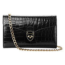 Buy Aspinal of London Manhattan Structured Leather Clutch Bag, Black Croc Online at johnlewis.com