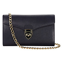 Buy Aspinal of London Manhattan Structured Leather Clutch Bag, Blue Online at johnlewis.com
