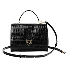 Buy Aspinal of London Mayfair Leather Across Body Bag, Black Croc Online at johnlewis.com