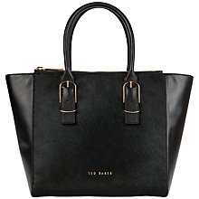 Buy Ted Baker Megen Large Leather Zip Shopper Bag, Black Online at johnlewis.com