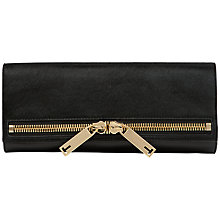 Buy Ted Baker Malicho Large Zip Leather Clutch Bag, Black Online at johnlewis.com