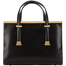 Buy Ted Baker Matokes Studded Metal Bar Leather Tote Bag, Black Online at johnlewis.com