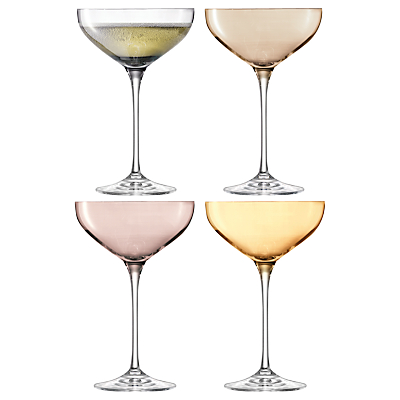 LSA International Polka Metallic Champagne Saucers, Set of 4