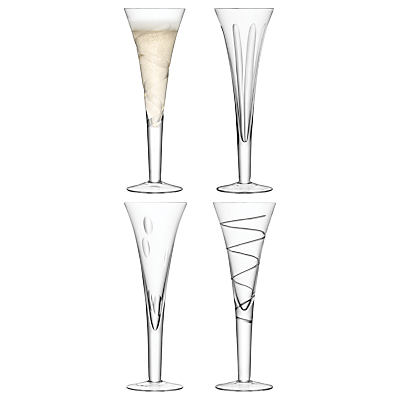 LSA International Charleston Champagne Flutes, Set of 4