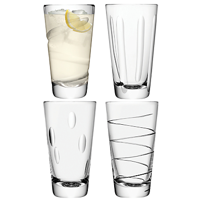 LSA International Charleston Highball Glasses, Set of 4