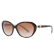 Buy Tiffany & Co TF4098 Oval Sunglasses, Havana/Blue Online at johnlewis.com