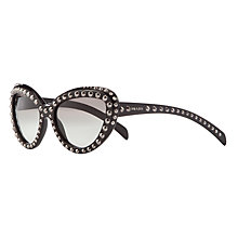 Buy Prada PR31QS57 Polarised Studded Sunglasses, Black Online at johnlewis.com