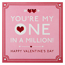 Buy Hotchpotch One In A Million Valentine's Card Online at johnlewis.com