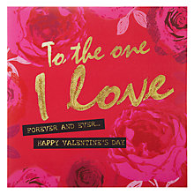 Buy Hammond Gower To The One I Love - Pink Roses Valentine's Card Online at johnlewis.com