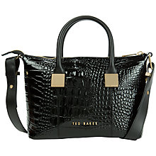 Buy Ted Baker Fauna Leather Square Tote Bag, Black Croc Online at johnlewis.com