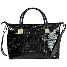 Buy Ted Baker Farra Leather Square Tote Bag, Black Croc Online at johnlewis.com