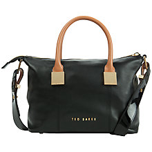 Buy Ted Baker Fauna Small Leather Square Tote Bag, Jet Online at johnlewis.com