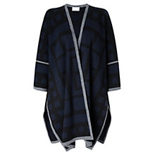Buy Jigsaw Geometric Patterned Blanket Coat, Navy Online at johnlewis.com