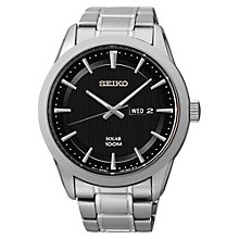 Buy Seiko SNE363P1 Men's Solar Watch, Silver / Black Online at johnlewis.com