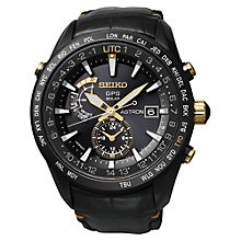 Buy Seiko Astron SAST100G Men's Solar Chronograph Leather Watch, Black Online at johnlewis.com