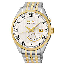 Buy Seiko SRN058P1 Men's Kinetic Watch, Silver / Gold Online at johnlewis.com