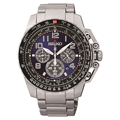 Seiko SSC275P9 Men's Prospex Chronograph Bracelet Strap Watch, Silver/Black