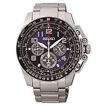 Buy Seiko SSC275P9 Men's Perspex Chronograph Solar Watch, Silver / Black Online at johnlewis.com