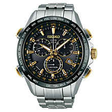 Buy Seiko Astron SSE007J1 Men's GPS Solar Chronograph Titanium Watch, Silver / Black Online at johnlewis.com