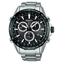 Buy Seiko Astron SSE011J1 Men's Bracelet Strap Watch, Black / Silver Online at johnlewis.com