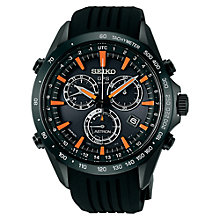 Buy Seiko Astron SSE017J1 Men's Silicone Strap Watch, Black/Orange Online at johnlewis.com