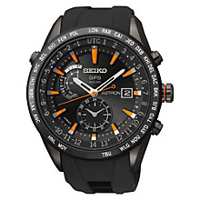 Buy Seiko Astron SAST100G Men's GPS Solar Silicon Strap Watch, Black Online at johnlewis.com
