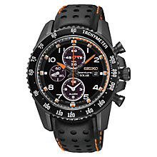Buy Seiko SSC273P9 Men's Sportura Solar Leather Watch, Black Online at johnlewis.com