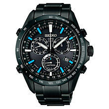Buy Seiko Astron SSE013J1 Men's Bracelet Strap Watch, Black / Blue Online at johnlewis.com