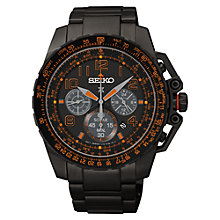 Buy Seiko SSC277P9 Men's Perspex Chronograph Solar Watch, Black Online at johnlewis.com