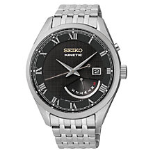 Buy Seiko SRN057P1 Men's Kinetic Watch, Silver / Black Online at johnlewis.com