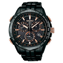 Buy Seiko Astron SSE019J1 Men's Bracelet Strap Watch, Black / Rose Gold Online at johnlewis.com