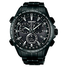 Buy Seiko Astron SSE009J1 Men's GPS Solar Chronograph Titanium Watch, Black Online at johnlewis.com