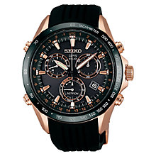Buy Seiko Astron SSE022J1 Men's Silicone Strap Watch, Black / Rose Gold Online at johnlewis.com