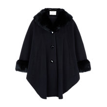 Buy Jacques Vert Fur Trim Cape, Navy Online at johnlewis.com