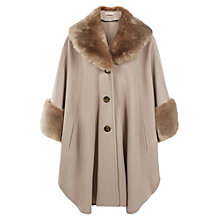 Buy Jacques Vert Fur Trim Cape, Palamino Online at johnlewis.com