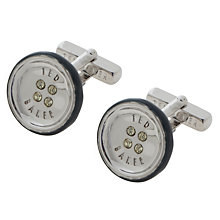 Buy Ted Baker Wilburt Button Cufflinks, Navy Online at johnlewis.com