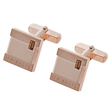 Buy Ted Baker Brushup Square Crystal Cufflinks, Rose Gold Online at johnlewis.com