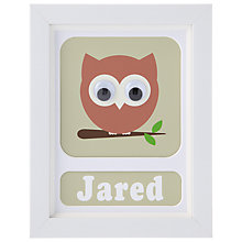 Buy Stripey Cats Personalised Owl Framed Print, 23 x 18cm, Green Online at johnlewis.com