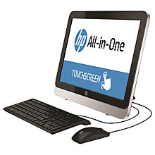 "Buy HP 22-2066na All-in-One Desktop PC, Intel Core i3, 4GB RAM, 1TB, 21.5"" Touch Screen, Black Online at johnlewis.com"