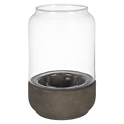 John Lewis Concrete Base Hurricane Candle Holder, Medium