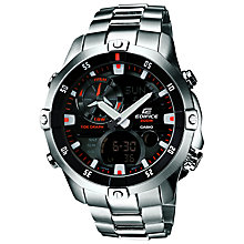 Buy Casio EMA-100D-1A1VEF Men's Edifice Chronograph Watch, Silver / Black / Red Online at johnlewis.com