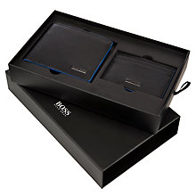 Buy BOSS Garigo Leather Wallet and Card Case Set, Black Online at johnlewis.com