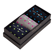 Buy Ted Baker Lovepop Heart Socks, Pack of 3, One Size, Multi Online at johnlewis.com
