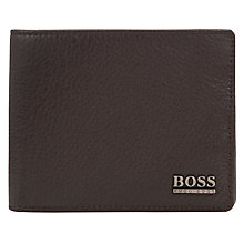 Buy BOSS Monist Grained Leather Billfold Wallet, Brown Online at johnlewis.com