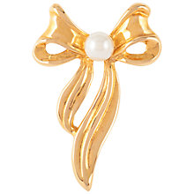 Buy Susan Caplan Vintage 1980s Faux Pearl Bow Brooch, Gold Online at johnlewis.com