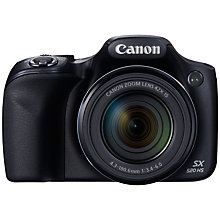 "Buy Canon PowerShot SX520 HS Bridge Camera, HD 1080p, 16MP, 42x Optical Zoom, Wi-Fi, 3"" LCD Screen, Black Online at johnlewis.com"