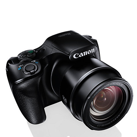"Buy Canon PowerShot SX520 HS Bridge Camera, HD 1080p, 16MP, 42x Optical Zoom, 3"" LCD Screen, Black Online at johnlewis.com"